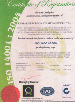 ISO 14001:2004 Quality Certificate for Kumar Precision Stampings Pvt. Ltd.