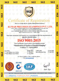 ISO 9001:2015 Quality Certificate for Kumar Precision Stampings Pvt. Ltd.
